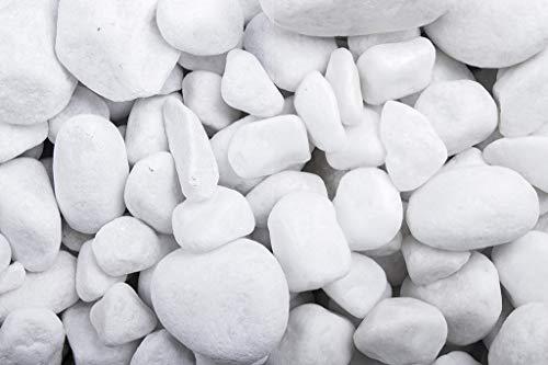 Doubleyou Geovlies & Bausoffe 1-20 kg. Dekosteine schneeweiss getrommelt 25-40 mm mm. (1 kg)