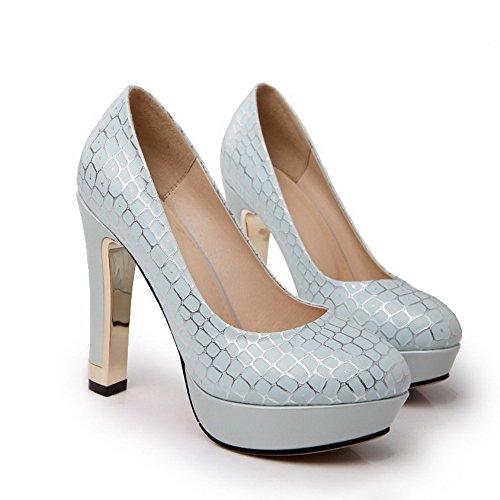 AllhqFashion Femme Tire Rond à Talon Haut Couleurs Mélangées Chaussures Légeres Bleu Clair