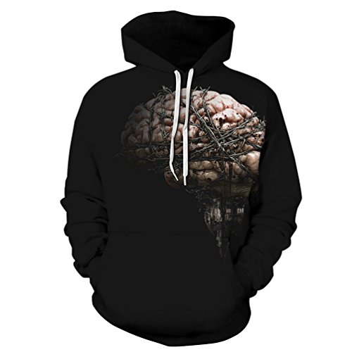 Kostüme 2017 Für Top Männer Halloween (YiLianDa Horror Digitaldruck Kapuzenpullover Tops Fashion Hoodie Pullover Hooded Sweatshirt)