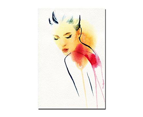 120x80cm - Frau Mädchen Gesicht Wasserfarben - Bild auf Keilrahmen modern stilvoll - Bilder und...