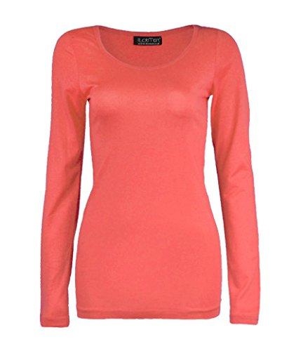 Fashion 4 less da donna, a manica lunga, tinta unita basic cotone t-shirts tops coral m/l - (44-46)