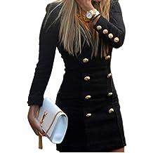 Koly_Bottoni Slim Nuova Maglia a manica lunga casuale del cocktail Vestiti