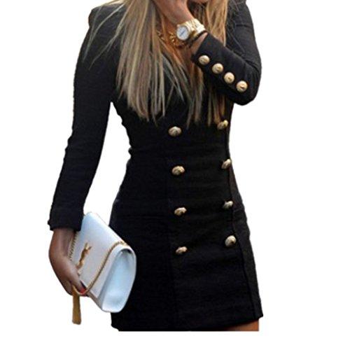 Koly_Bottoni Slim Nuova Maglia a manica lunga casuale del cocktail Vestiti (Vestito Blu Camicia A Righe)