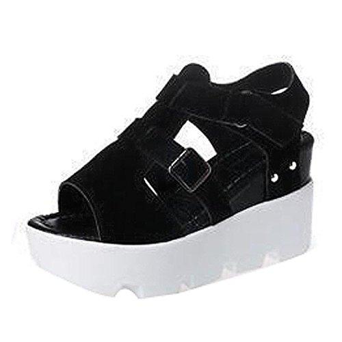 OverDose Damen Sommer Sandalen Schuhe Peep-Toe High Schuhe Römische Sandalen Damen Flip Flops Schwarz