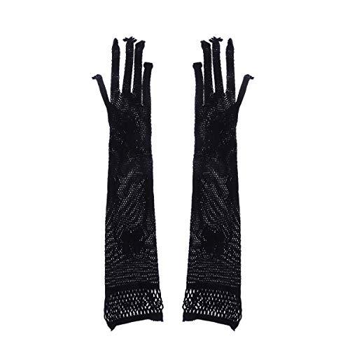 Fischnetz Kostüm Handschuhe - BESTOYARD Halloween Lange Handschuhe Spinnennetz Handschuhe Fischnetz Handschuhe Dance Party Kostüm Halloween Cosplay Handschuhe Zubehör (Schwarz)