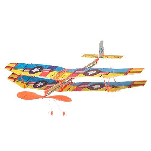 Montage Flugzeugflugzeug Durch Gummiband Blau Und Gelb Angetrieben Ins Leben Gerufen (Gummiband Flugzeug Starten)