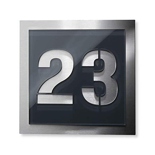 Hausnummer-Platte – anthrazit - aus Acrylglas & Edelstahl – mit Gravur – alle Ziffern möglich – komplett montagefertig
