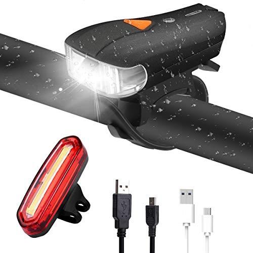acetek Fahrradlicht Set, LED Fahrradbeleuchtung USB Wiederaufladbar Fahrrad licht, Automatische Helle, 5 Modi Fahrrad Scheinwerfer Bike Lights, Fahrrad Frontlicht und Rücklichter Set, Ideal für Mountainbikes,Straßenrädern,Camping