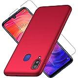 XIFAN Hülle + [2 Stück] 9H Gehärtetes Glas-Displayschutz für Xiaomi Redmi Note 7, Ultraleichter Hard PC Hülle, Seidenmatte Lackierung Schutzhandytasche. Rot