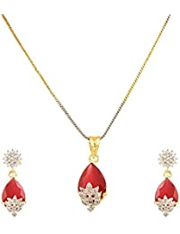 Zeneme Red American Diamond Gold Plated Pendant Set With Earring For Girls / Women