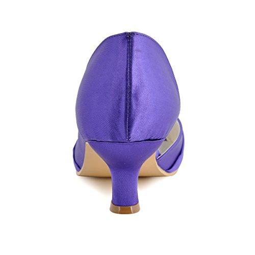ElegantPark 1201D Donna Tacco Basso Partito Pompe Peep Toe Nodo Satin Scarpe Da Sposa Viola