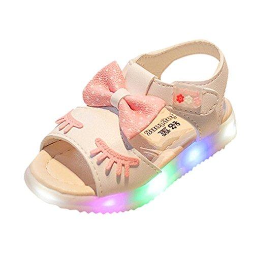 FNKDOR Kleinkind Baby Mädchen LED Licht Schuhe Leuchtende Sommer Sandalen (28, Weiß)