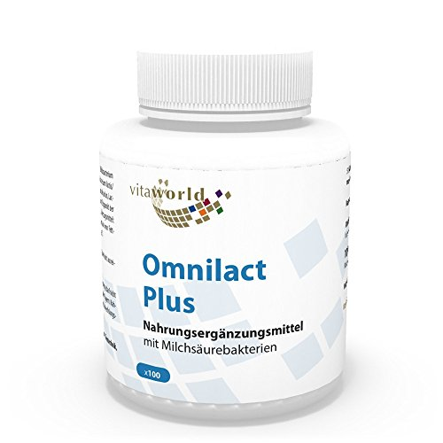 Vita World Probiotique Omnilact plus 100 Capsules FOS 5 millards Lactobacillus Acidophilus 10 bactéries différentes Made in Germany