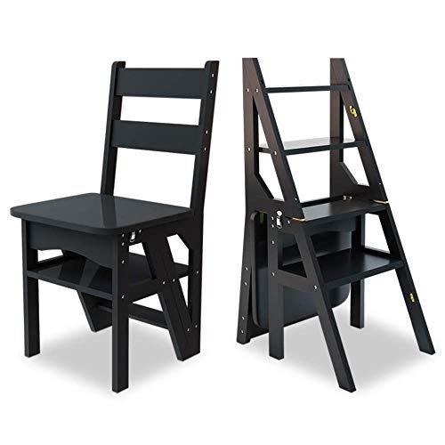 XITER Faltender hölzerner Bockleiter-Stuhl-Schemel, hölzernes Haushaltstreppen-Stuhl-Sicherheitsleiter-Regal oder Aufstiegs-Treppenhaus-Stuhl