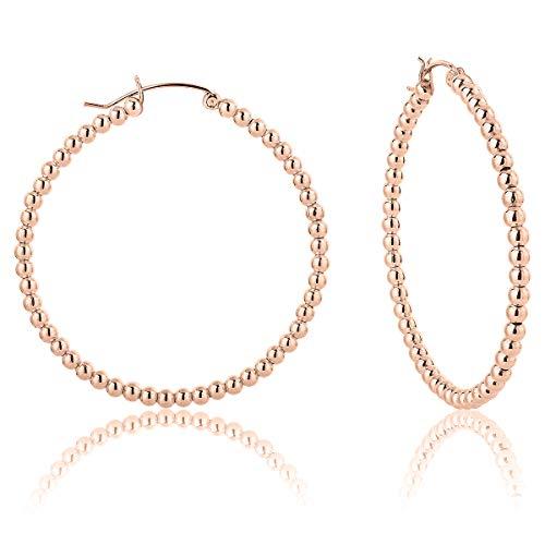 DTPsilver - Damen - Creolen - Ohrringe 925 Sterling Silber und Rosen Vergoldet - Dicke 3 mm - Durchmesser 50 mm -