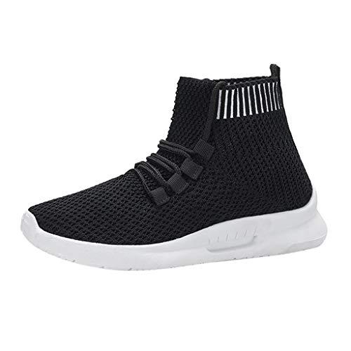 FNKDOR Schuhe Fly Knit Elastische Socken Schuhe, Damen High-Top Atmungsaktiv Turnschuhe Lace-Up Sneaker Outdoor Laufschuhe Freizeitschuhe Schwarz 38 EU - Dockers Klassische Slips