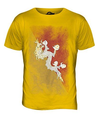 CandyMix Bhutan Verblichen Flagge Herren T Shirt Dunkelgelb