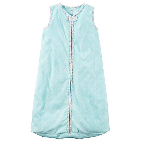 Carters Unisex Baby Fleece Sleepbag Sleepsuit, Sleeveless Blue/Pink Polka Dots, Small 0-3 Months (Carters Baby-tasche)