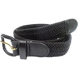 Streeze 30 mm ceinture pour hommes et femmes. 6 tailles. Extensible et tressée avec une boucle en cuir (Noir, XL)