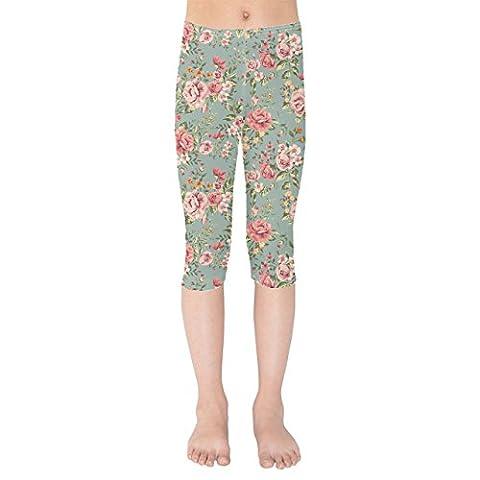 Pastel Floral Wallpaper Kids Capri Leggings - 12
