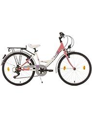 KS Cycling Kinder Fahrrad Dacapo Florida RH 36 cm, Weiß/Rosa, 24, 401D