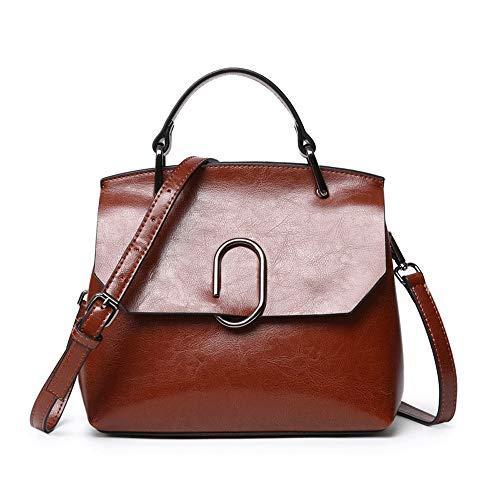 Frauen Leder Top Griff Handtaschen Schulter Crossbody Tasche mit abnehmbaren verstellbaren Riemen mehrere Farben Frauen Casual Handtasche Schulter-Handtasche ( Color : Brown , Size : Free Size )