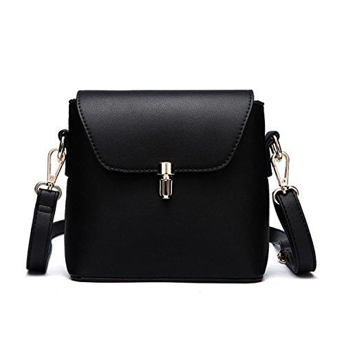 DHFUD Damen PU Schultertasche Handtasche Crossbody Einfache Mini Casual Fashion Black