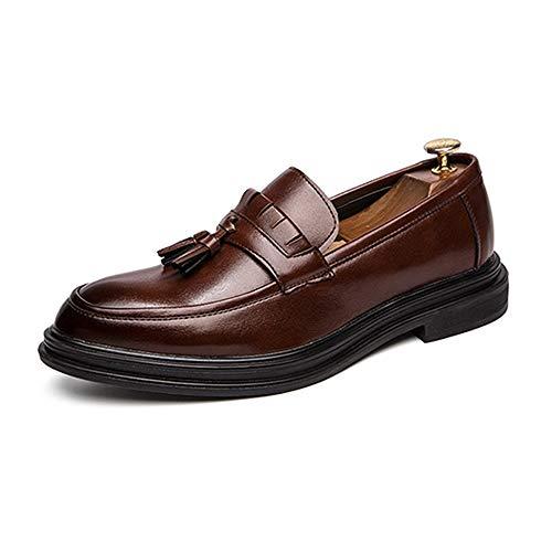 Jingkeke Herren Quaste Business Oxfords Schuhe for Herren Pull-on Formal Dress Loafers Weiche Mikrofaser Leder Antislip Sole Block Heel Ins Auge fallend Mode (Farbe : Braun, Größe : 41 EU) (Brown-frauen-kleid-schuhe)