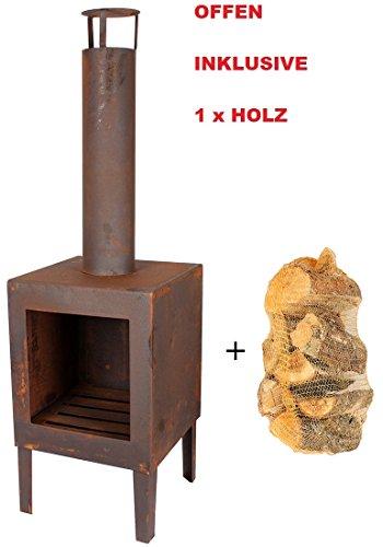 *Edelrost Terrassenofen mit 1x Holz Feuerstelle Heizpilz Terassenheizung Terrassenkamin Feurschale*