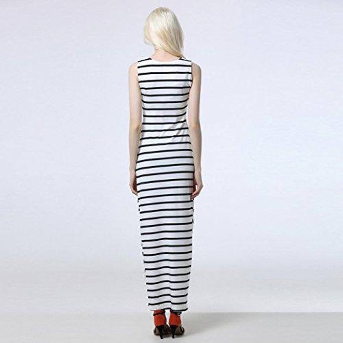 Bekleidung Longra Damen Sommerkleider Casual Sundress ärmellosen Streifen Long Beach Dress Langarm T-Shirt-Kleider White