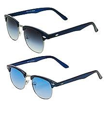 Vast Combo Of 2 Fashion Clubmaster Unisex Sunglasses (BLUESIL_BLUESILOLD)