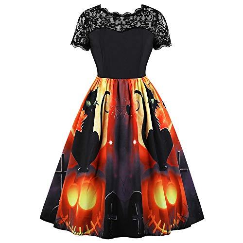 Shangcer Damenrock Halloween Katze und Kürbis Laterne Print Vintage Kleid-M Größe Geeignet für alle Gelegenheiten