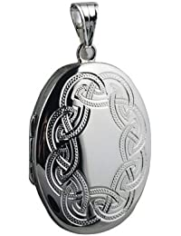 Silver 35x26mm oval hand engraved celtic pattern Locket