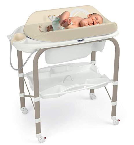 CAM Bade-Wickelkombination CAMBIO   Antikipp-Sicherheitssystem   praktische Ablageflächen   Design Made in Italy   Babybadewanne inkl. Babydusche   Wickelkombination (Bärchen)