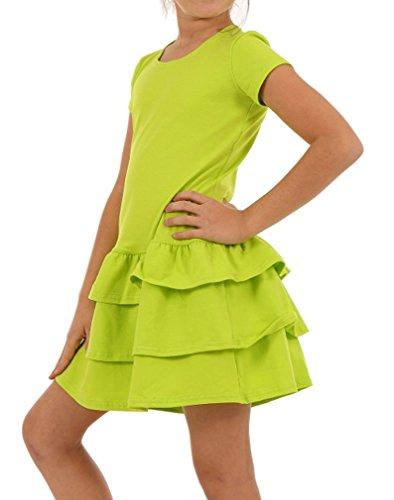 Dykmod Mädchen Kleid Falten Kurzarm Sommer Frühling hk272 122, Limone (Mädchen Kleider Frühling)