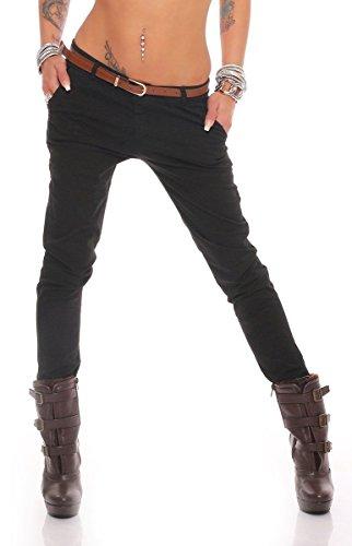 Fashion4Young 10777 Damen Skinny Chino Pant Hautenge Treggings Stretch-Stoff Damenhose mit Gürtel (L=40, Schwarz) -