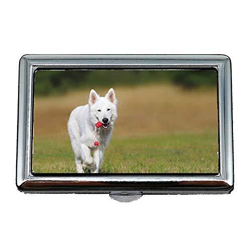 Zigarettenetui Box, Schweizer Schäferhund Hund Weiß Tier Spiel Haustier, Visitenkartenetui Visitenkartenetui Edelstahl