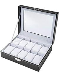 TecTake Coffret pour montres avec serrure boîte à montre - diverses couleurs au choix - (Noir-Blanc 10 montres | No. 401536)