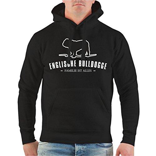 Männer und Herren Kapuzenpullover Englische Bulldogge Größe S - 8XL Schwarz