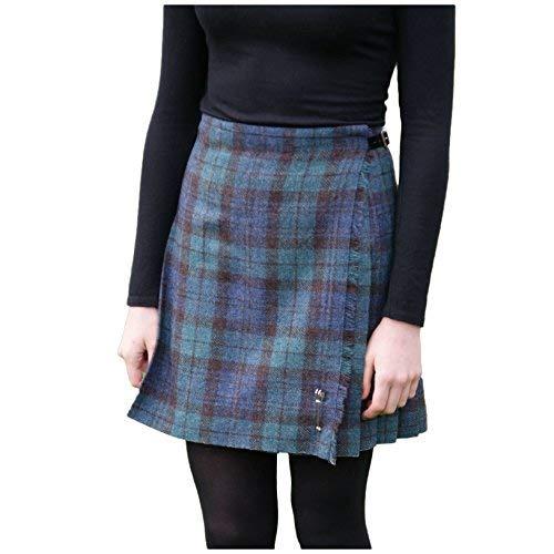 Neu Shetland Wolle Damen Kilt - Flora - Schwarze Uhr - Verschiedene Größen - Schwarze Armbanduhr, UK 14 - EU 42 - US 10 - AUS 14 - Wolle Kilt
