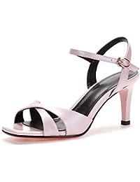 La Sra boca de pescado sandalias de verano los zapatos de la correa de palabras , pink , US7.5 / EU38 / UK5.5 / CN38