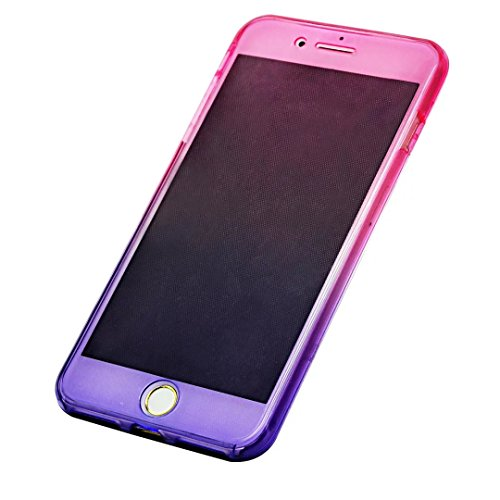 iPhone SE Hülle, iPhone 5s Silikon Hülle, iPhone 5 TPU Hülle, Vandot Double Gradient Farbe Schutzhülle für iPhone SE 5S 5 Full Body Case Cover Touchscreen Bunt TPU Silikon Weich Transparent Beidseitig Gradient Rosa Blau