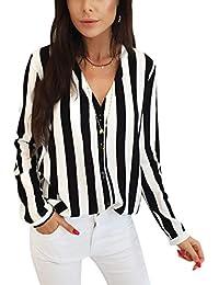 newest 2583b 81563 Amazon.it: camicia righe bianche nere - T-shirt, top e bluse ...