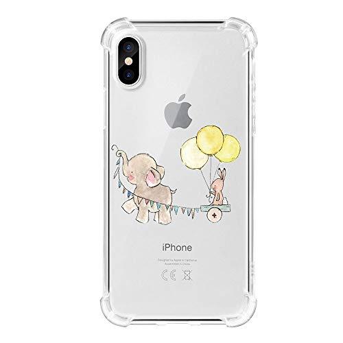Funda iPhone X Carcasa Silicona Transparente Protector TPU Airbag Anti-Choque Ultra-Delgado Anti-arañazos Case para Teléfono Apple iPhone 10 Caso Caja (iPhone XS MAX, Patrón 11)