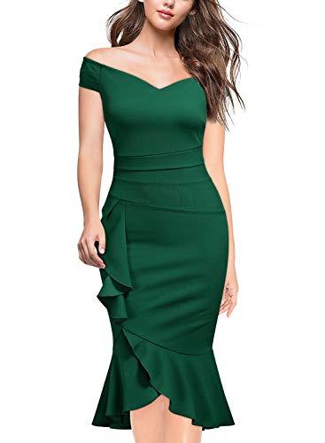 Knitee Elegant Schulterfrei Herzform Ausschnitt Etuikleid Rüschen Falte Bodycon Taille Cocktail Party Kleid Grün M -
