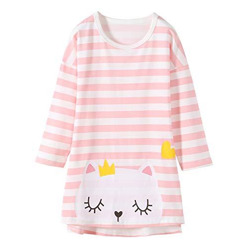 Katze Nachthemden für Mädchen Langarm Kinder Schlafanzüge Rundkragen Rosa Tierdruck 5 Jahre