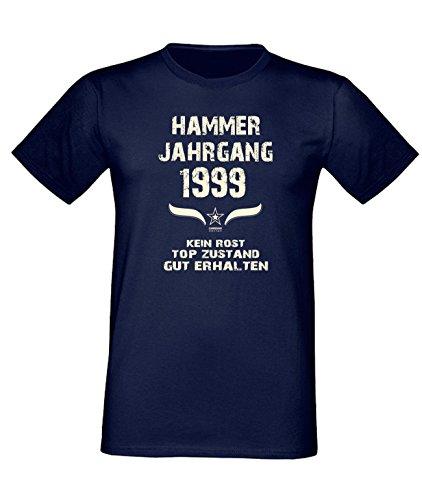 Geburtstags Fun T-Shirt Jubiläums-Geschenk zum 18. Geburtstag Hammer Jahrgang 1999 Farbe: schwarz blau rot grün braun auch in Übergrößen 3XL, 4XL, 5XL blau-01