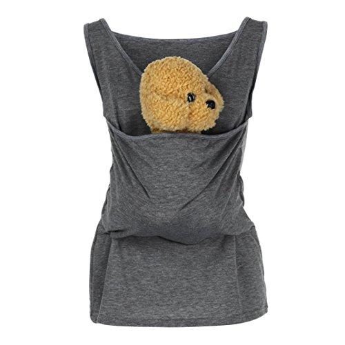 Kangaroo Babybauchtrage T Shirt, BakeLIN Papa Mutter Multifunktionale Kindertragetuch Tanktops Baby Carrier Holder Weste (Schwarz Dunkelgrau Blau Grau, S~3XL) (L, Grau)