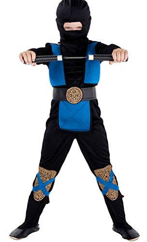 3 Deluxe Muskel Kostüme (Deluxe Ninja Kostüm Kinder blau schwarz mit Muskeln - komplettes Kinder Ninja Kostüm Jungen blau)
