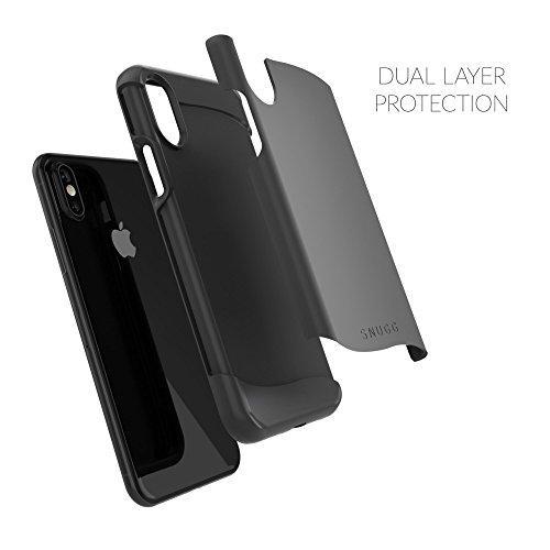 Coque iPhone X, Snugg Apple iPhone X Double Couche Case Housse Silicone [Bouclier Légère] Etui de Protection - Gris, Infinity Series BLACK